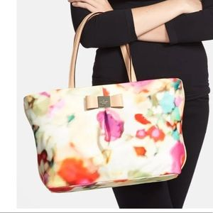 Kate Spade Small Evie Bow Watercolor Tote Bag